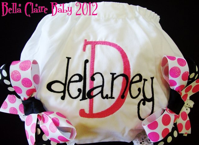 Hot Pink & Black Sparkles Personalized Bloomers
