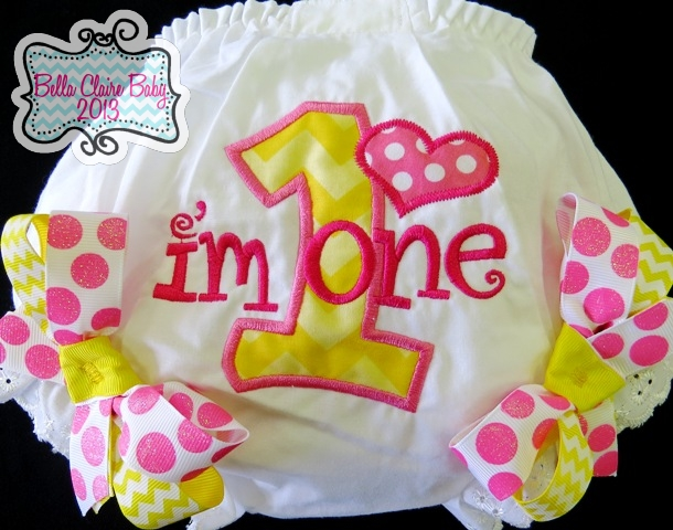 Chevron Heart Initial Bloomers- Pink Lemonade