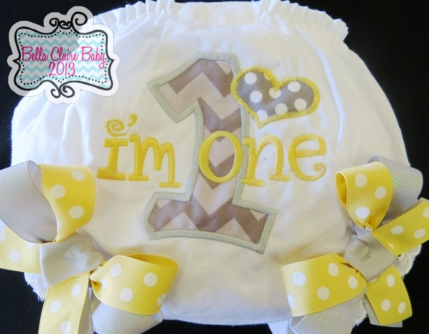Chevron Heart Initial Bloomers- Butter Yellow