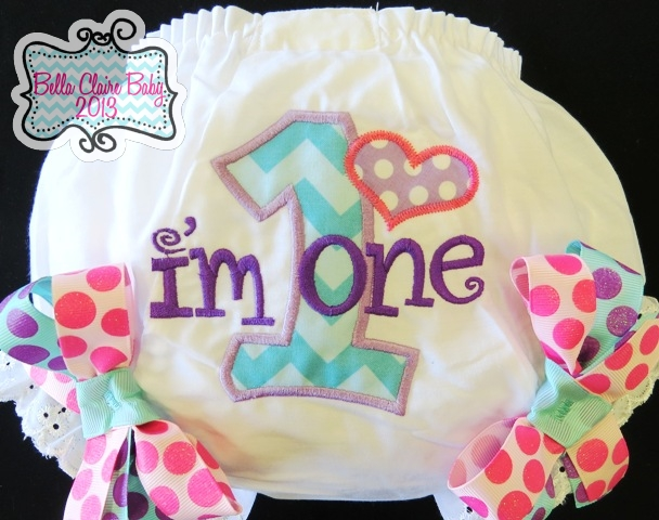 Sweet Spring Chevron Initial Bloomers