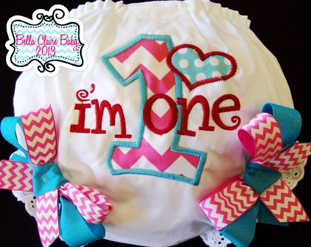 Chevron Heart Initial Bloomers- Pink