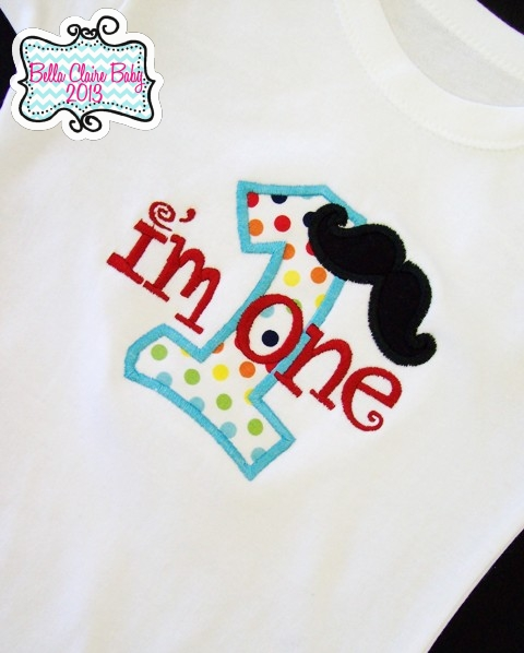 Mustache Rainbow Initial Boy Top