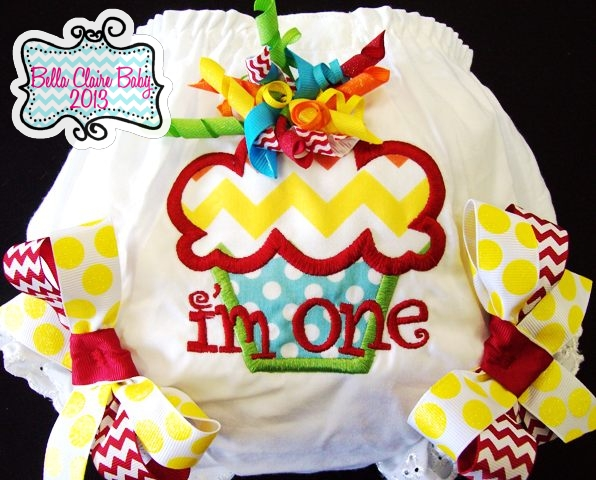 Chevron Rainbow Cupcake Bloomers- Yellow