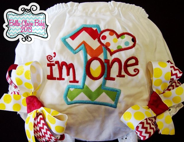 Chevron Heart Initial Bloomers- Rainbow