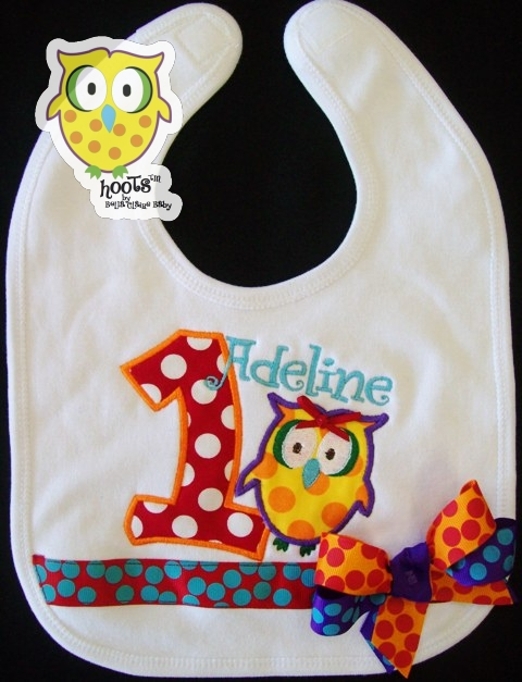 Rainbow HOOTs Birthday Bib