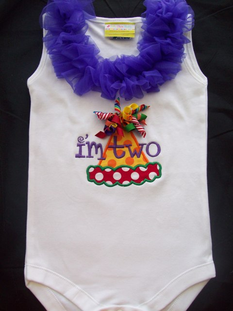 Rainbow HOOTs Birthday Hat Ruffle Top