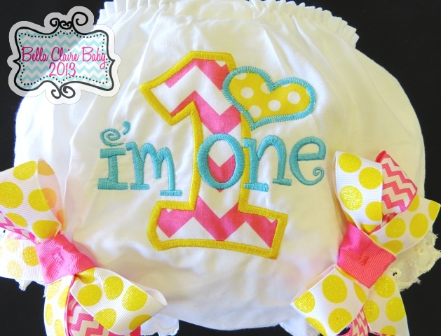 Spring Fling Chevron Heart Initial Bloomers