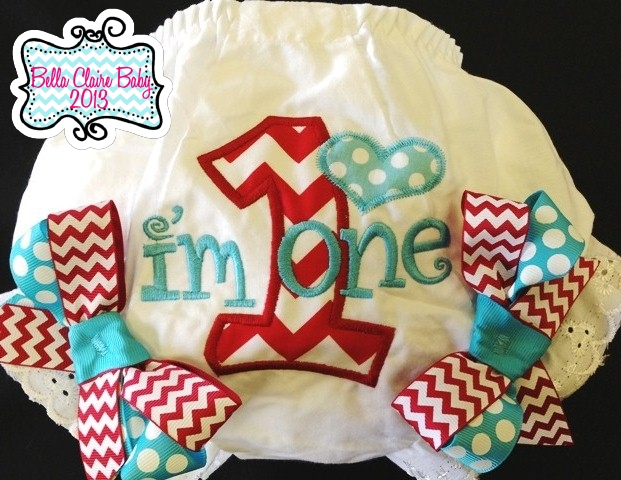 Chevron Heart Initial Bloomers- Red